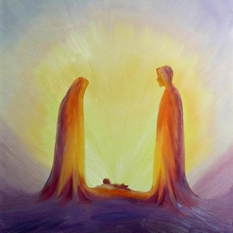 WNG268469 Mary and Joseph look with faith on the child Jesus at his Nativity, 1995 (oil on panel) by Wang, Elizabeth (Contemporary Artist); 70.5x60 cm; Private Collection; © Radiant Light; English, in copyright